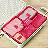 Rose Red-6Pcs Waterproof Travel Storage Bag Clothes Packing Cube Luggage Organizer Pouch