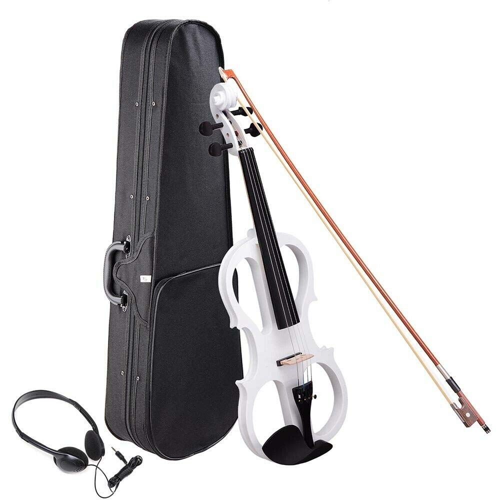 ARB MARKET 4/4 Full Size Electric Violin Wood Silent Fiddle Bow Headphone Case White | Cecilio 4/4Cevn-2Bk Solid Wood Electric/Silent Violin by ARB MARKET
