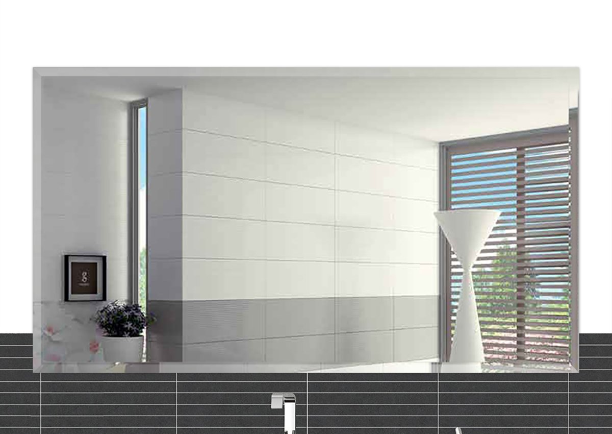 Fab Glass and Mirror 24'' x 36'' Inch Rectangle Beveled Polished Frameless Wall Mirror with Hooks