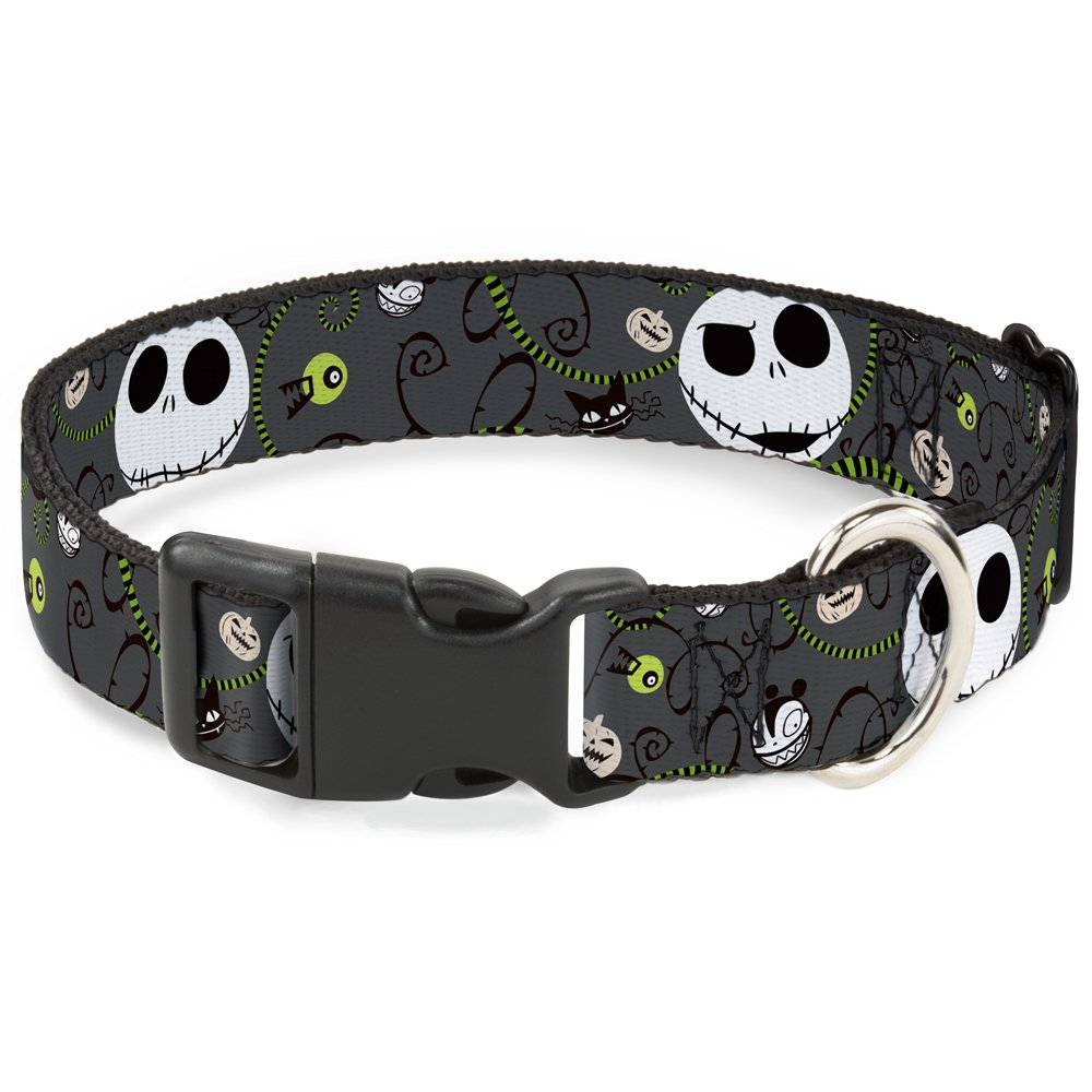 Buckle-Down Breakaway Cat Collar - NBC Jack Expressions/Halloween Elements Gray - 1/2'' Wide - Fits 8-12'' Neck - Medium