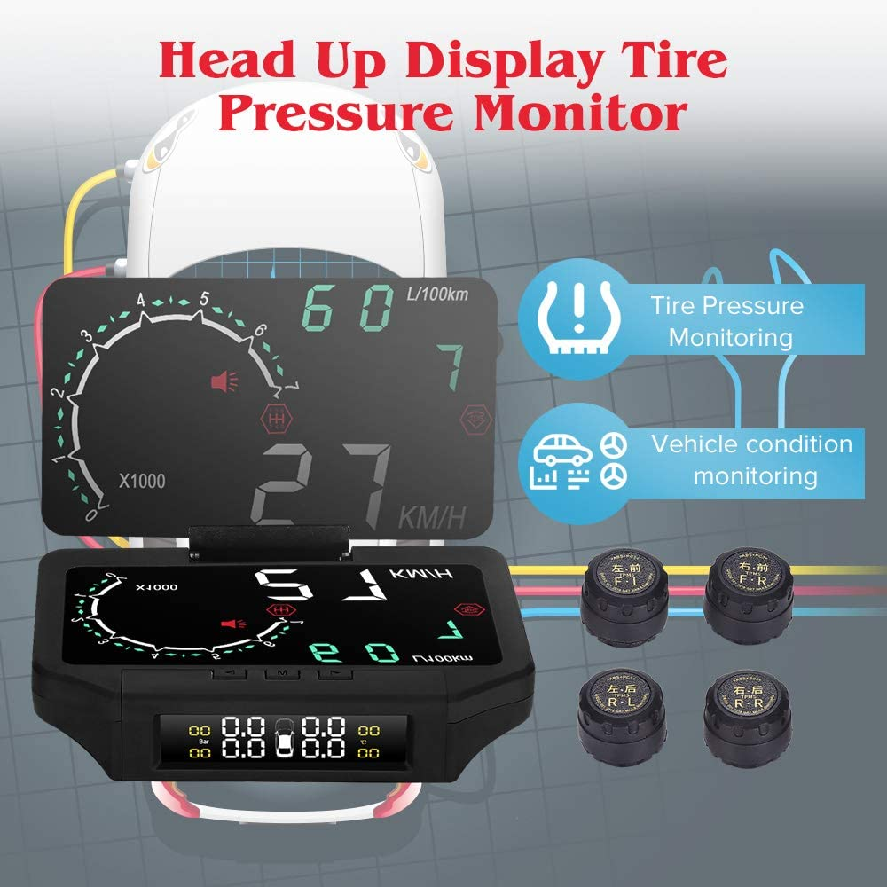 Auto HUD Head Up Display TPMS Reifendruckkontrollsystem 145 x 100 x 33mm OBD2 Interface Set