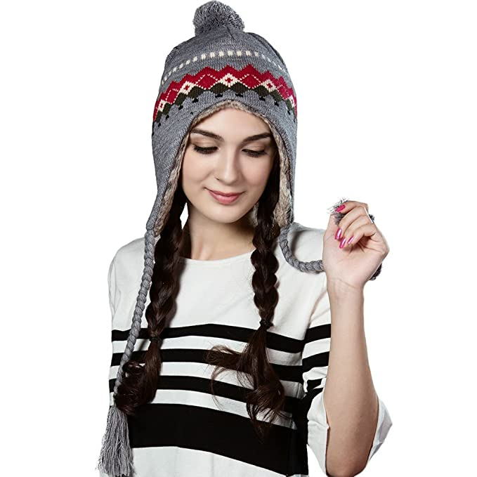 7a51cac099571a Image Unavailable. Image not available for. Color: Siggi Wool Peruvian  Beanie Hat for Women Earflap ...