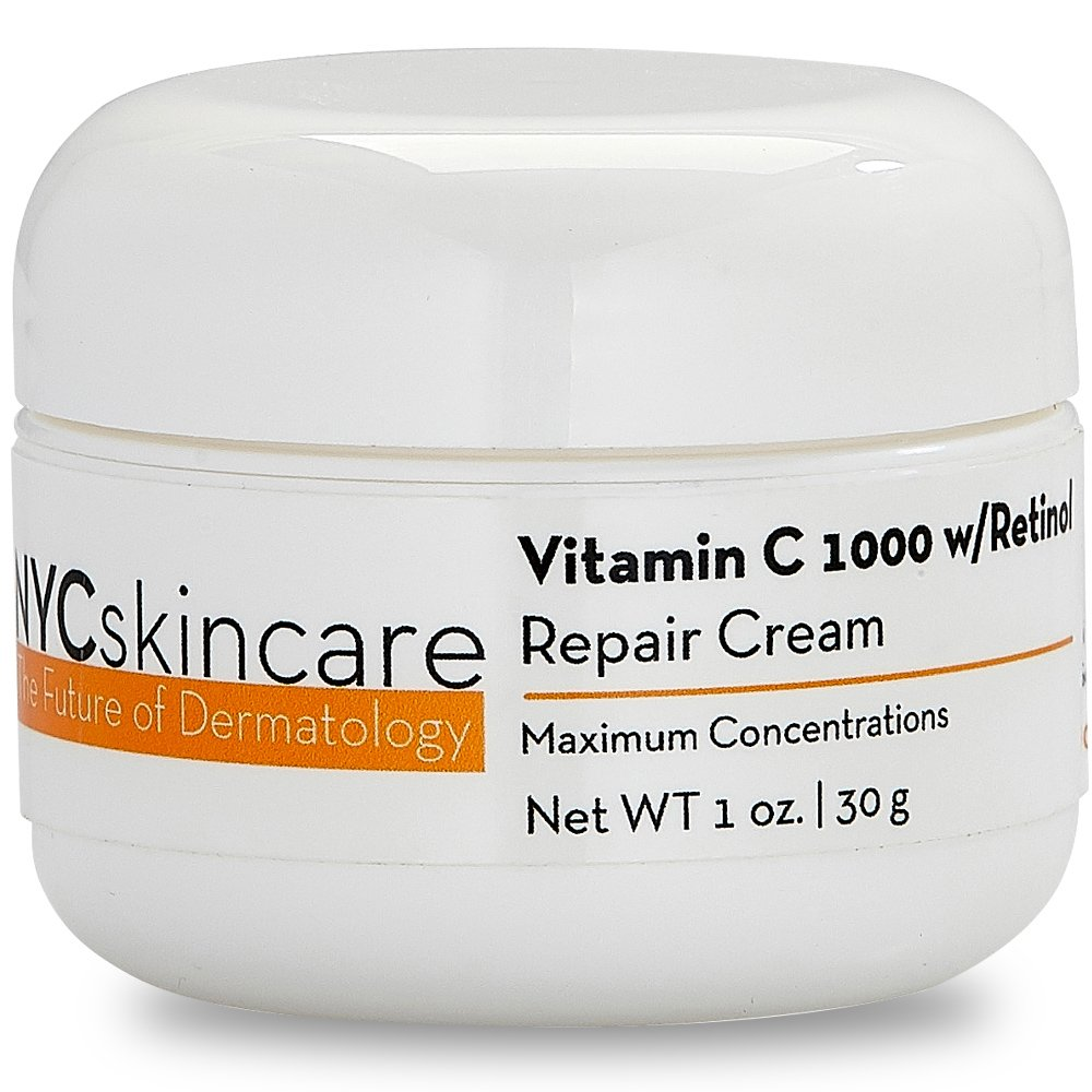 Vitamin C w/Retinol 1,000 Cream for Face | w/Jojoba Oil, Squalane & Antioxidants | Professional Quality | May Help Smooth Appearance of Fine Lines & Wrinkles, Brightens Complexion 1oz by NYCskincare
