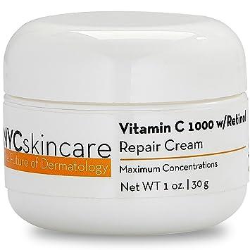 Vitamin C w/Retinol 1,000 Cream for Face   w/Jojoba Oil, Squalane &  Antioxidants   Professional