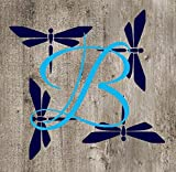 Single Letter Monogram Decal with Dragonfly Background. Choose the color and size. Perfect for car windows, Yeti cups, computer case, water bottle, etc.