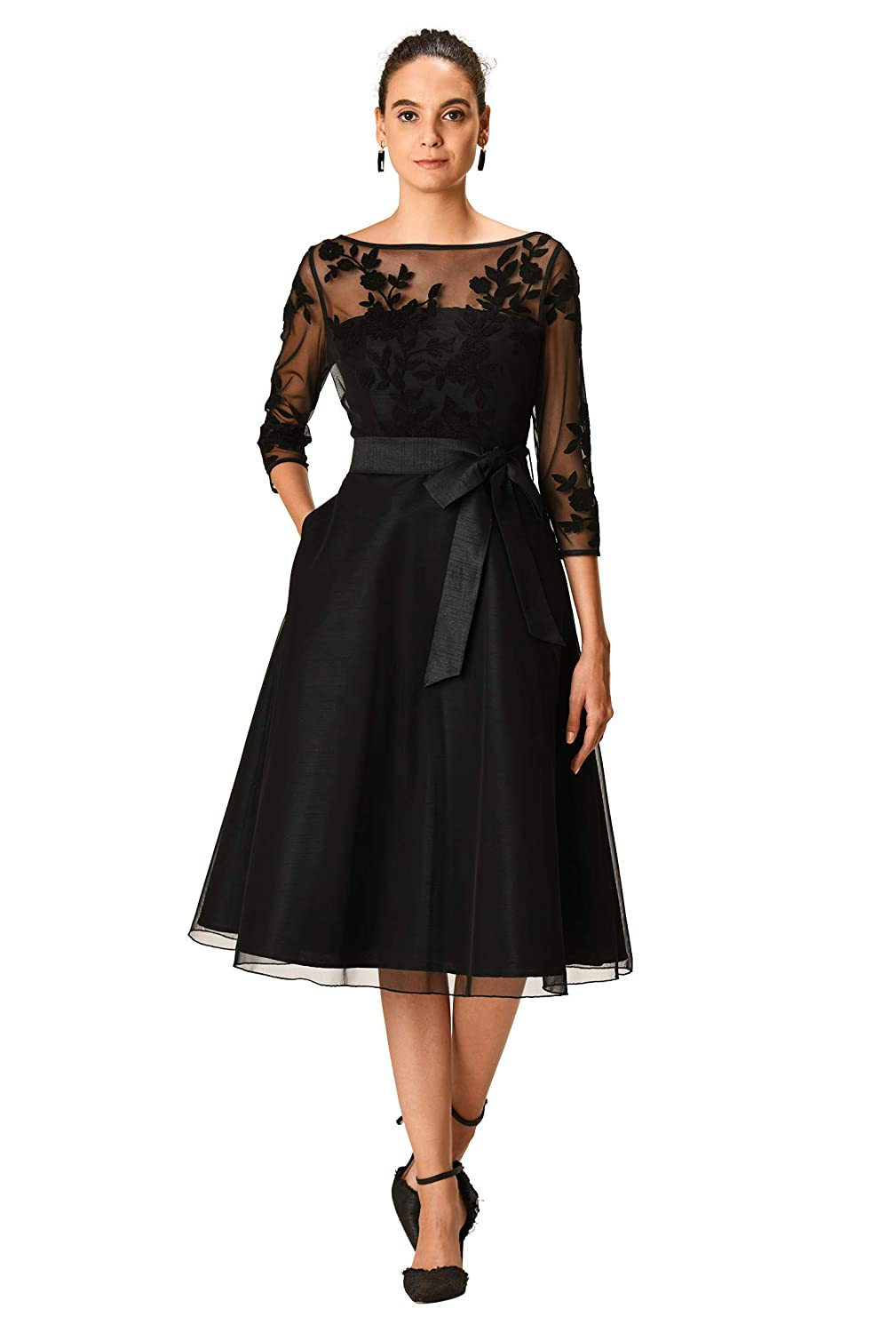 1950s Plus Size Dresses, Swing Dresses eShakti FX Floral Wool Embellished Illusion Tulle and Dupioni Dress - Customizable $94.95 AT vintagedancer.com