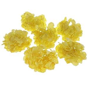 6pcs Artificial Flower Silk Hydrangea Heads Bulk Wedding Party Decor 16cm |Color - Yellow|