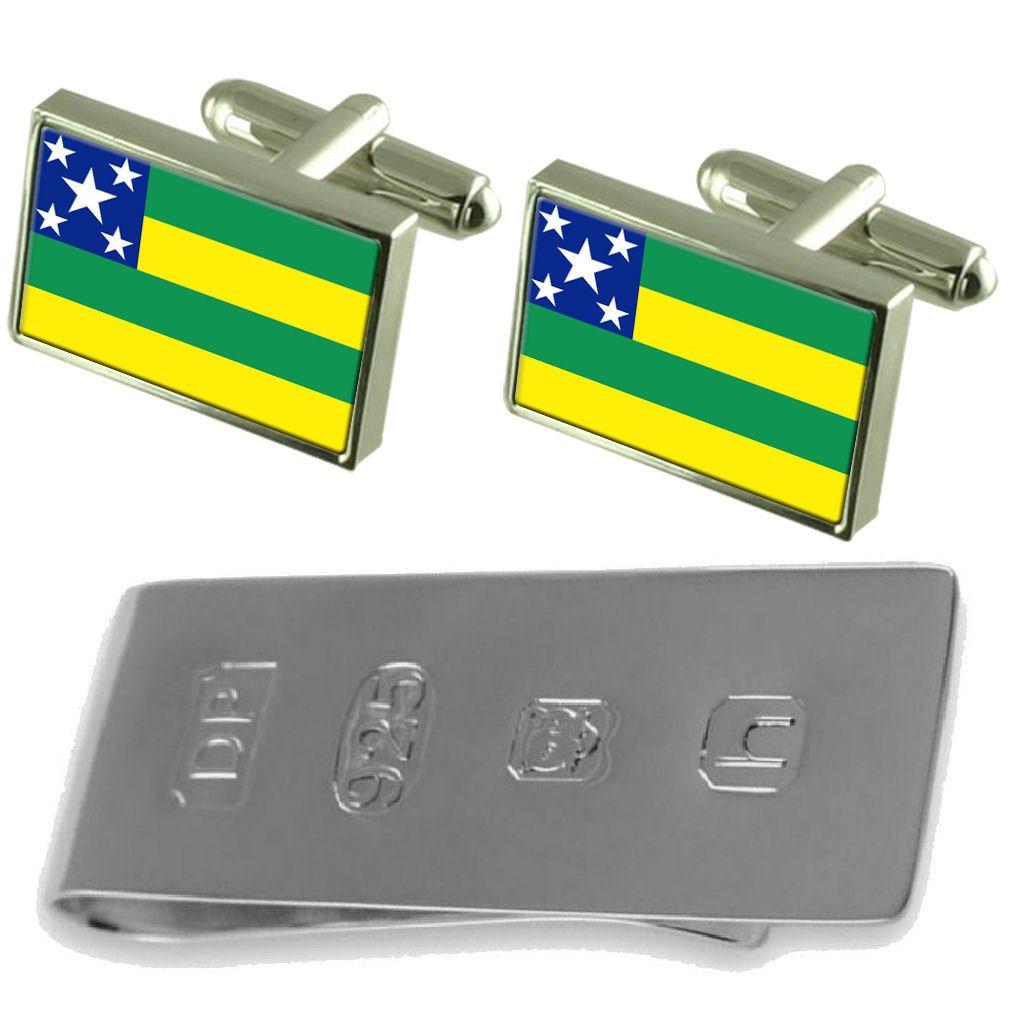 Select Gifts Sergipe Flag Cufflinks /& James Bond Money Clip