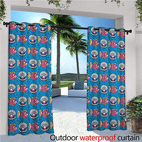 cobeDecor Pearls Outdoor Blackout Curtains Bubbles Backdrop with Scallops and Swimming Fishes Horizontal Design Tropic Cartoon Outdoor Privacy Porch Curtains W108 x L96 Multicolor