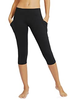 159505a13b1fe Baleaf Women's and Girl's Yoga Workout Capris Leggings Side Pocket for 5.5