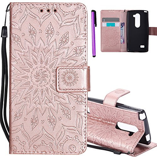 ISADENSER LG Leon C40 Case LG Tribute 2 Case [Wallet Stand] as Gift With Shockproof Credit Card Holder Flip Magnetic Closure Protection PU Leather Wallet Cover for LG Leon H320 Rose Gold Sunflower