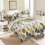 TheFit Paisley Bedding for Adult U57 Cozy Leaf Duvet Cover Set 100% Cotton, Queen Set, 4 Pieces