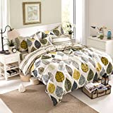 TheFit Paisley Bedding for Adult U57 Cozy Leaf Duvet Cover Set 100% Cotton, Queen Set, 4 Pieces