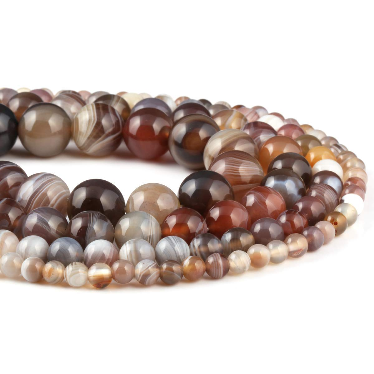 Natural Stone Stripe Agate Gemstone Faceted Round Loose Beads 1 Strand 15inchs 4mm for Bracelet Necklace Earrings Jewelry Making Crafts Design Healing Stripe Agate Beads(sold per bag 2 strands inside)