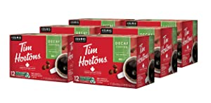 Tim Hortons Decaf, Medium Roast Coffee, Single-Serve K-Cup Pods for Keurig Brewers, Recyclable, 72 Count (6 Boxes of 12ct)