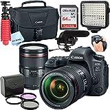 Canon 6D Mark II DSLR Camera with EF 24-105mm USM Lens,Led Video Light,Shotgun MIC, 64GB Sandisk Class 10 Memory-WiFi Enabled