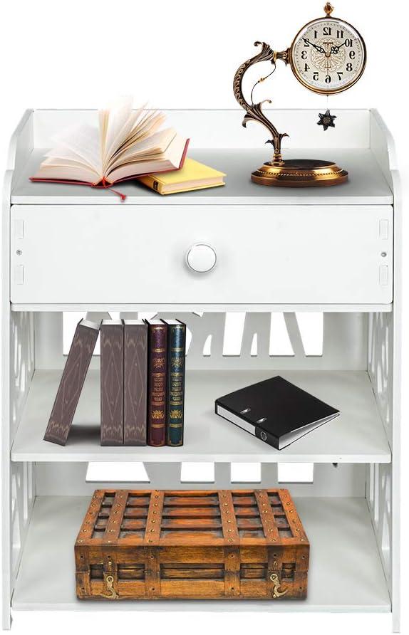 Wooden Bed Side End Table Nightstand Bedroom Drawer & Bottom Shelf White
