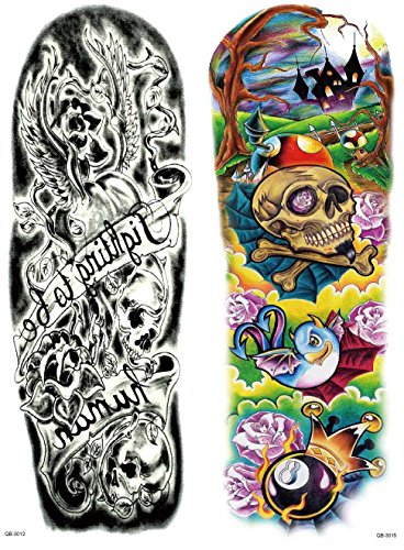 Nutrition Bizz Extra Large Temporary Tattoos Full Half Arm Tattoo Sleeves 20 Sheets for Men Women Teen Fake Tattoo Biker Tattoo Waterproof Stickers for Arms Shoulders Chest & Back by NutritionBizz (Image #5)