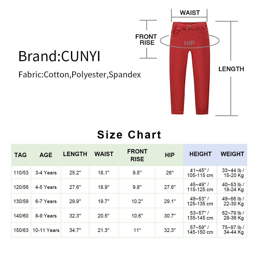 CUNYI Little Boys Pull on Jeans Cotton Skinny Jeans Fashion Slim Fit Pants with Elastic Waistband