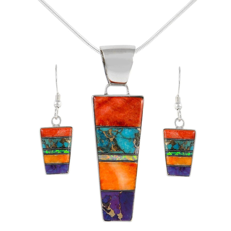Genuine Turquoise & Gemstone Matching Set 925 Sterling Silver (Pendant, Earrings, 24
