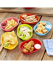 Set of 6 Snack Trays for Party Appetizers, Chips and Dip - Plastic