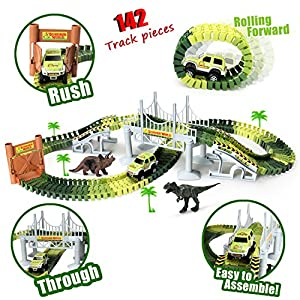 Track Toys Race Car Tracks with 142 Pieces Flexible Tracks Set 2 Dinosaurs,1 Military Vehicles,4 Trees,2 Slopes,1 Double-door and 1 Hanging Bridge for Children's Gift