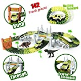 Race Car Tracks Dinosaur World Toys with 142 Pieces Flexible Tracks Set 2 Dinosaurs,1 Military Vehicles,4 Trees,2 Slopes,1 Double-door and 1 Hanging Bridge for Childrens Gift