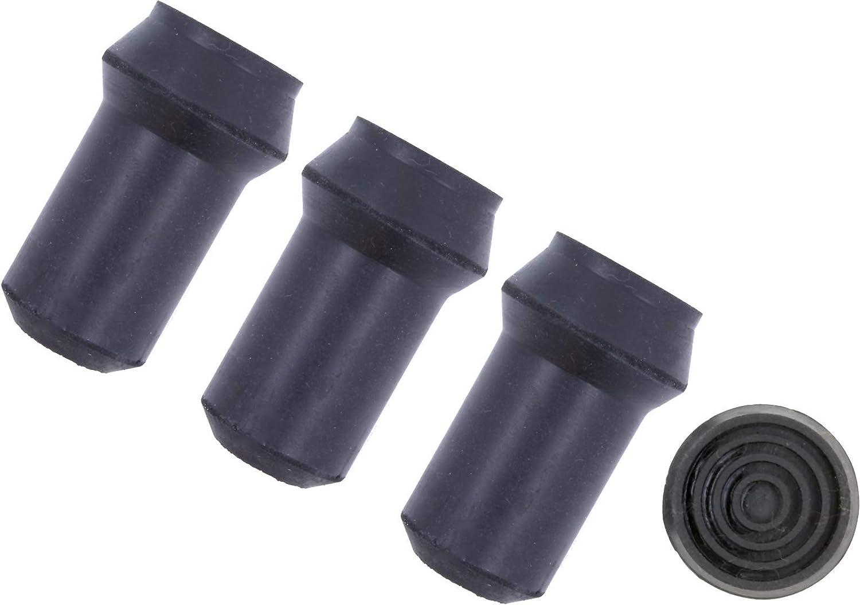 2 Black Rubber Walking Stick Ferrules 16mm Push On Bottom Of Cane
