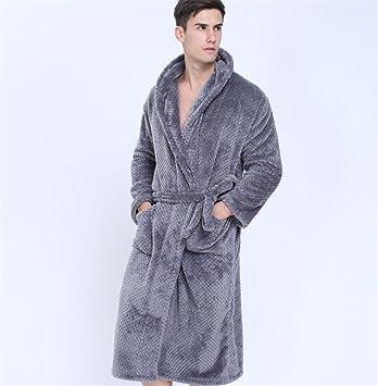 SUxian Gran Bata de baño de Color sólido Bata Albornoz de Color sólido para Hombres (Color : Grey, tamaño : L): Amazon.es: Hogar