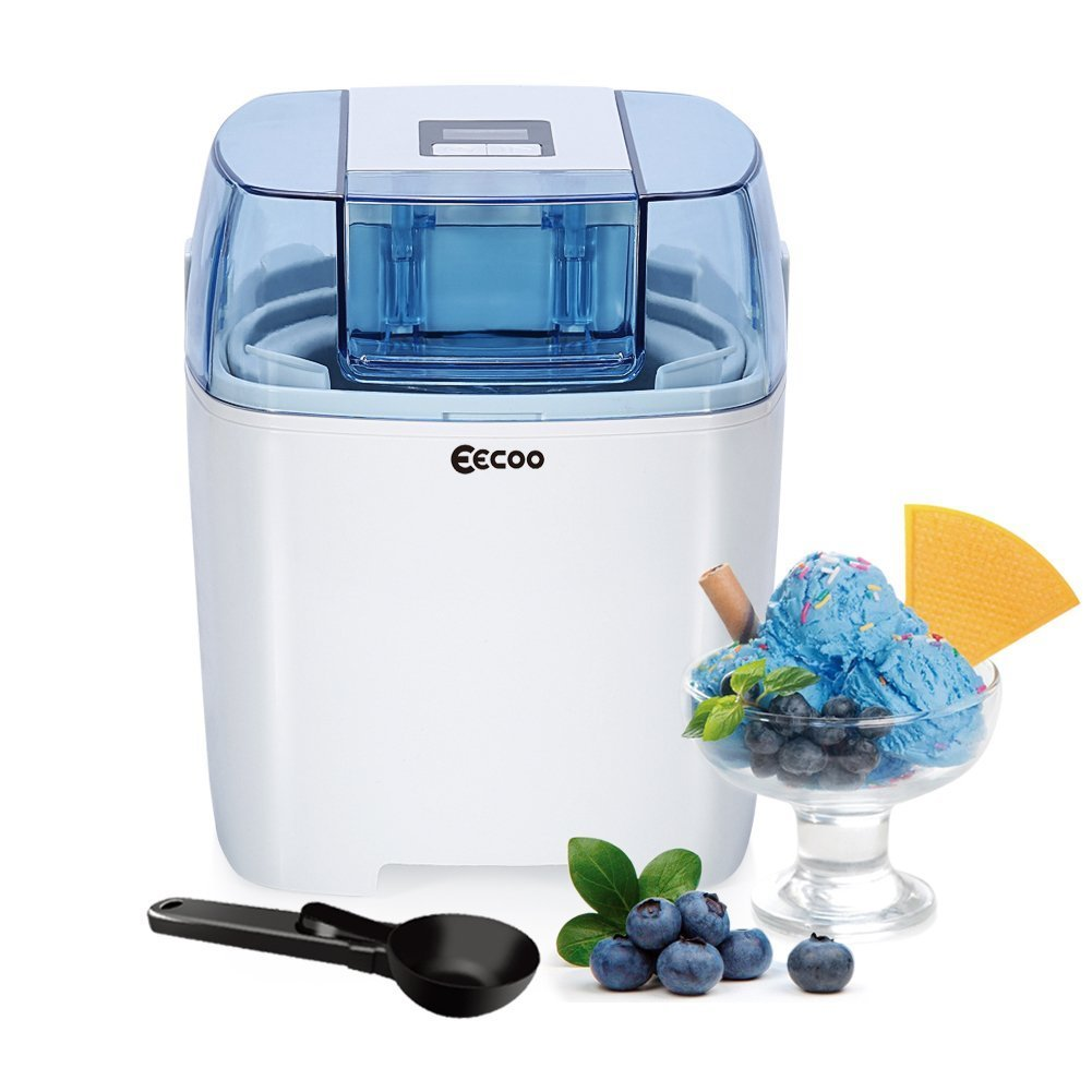 Ice Cream Maker Machine Frozen Yogurt Sorbet Gelato Machine,1.5L Freezer Bowl,LCD Countdown-Timer,20-40 Mins Making Time