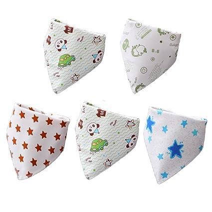Rojo – 5pcs Lovely Cute dibujos animados patrón toalla de saliva babero para bebé, impermeable