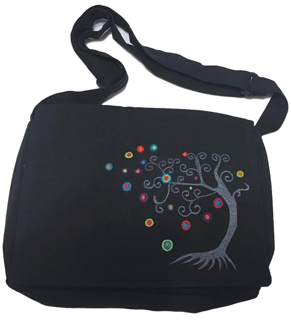 Black Messenger Bag with Embroidered Tree of Life and Adjustable Strap