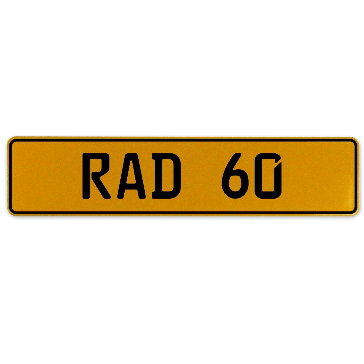 RAD 60 Vintage Parts 559013 Yellow Stamped Aluminum European Plate
