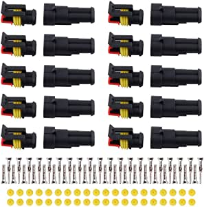 MUYI 10 Kit 2 Pin Way Waterproof Electrical Connector 1.5mm Series Terminals Water Resistend