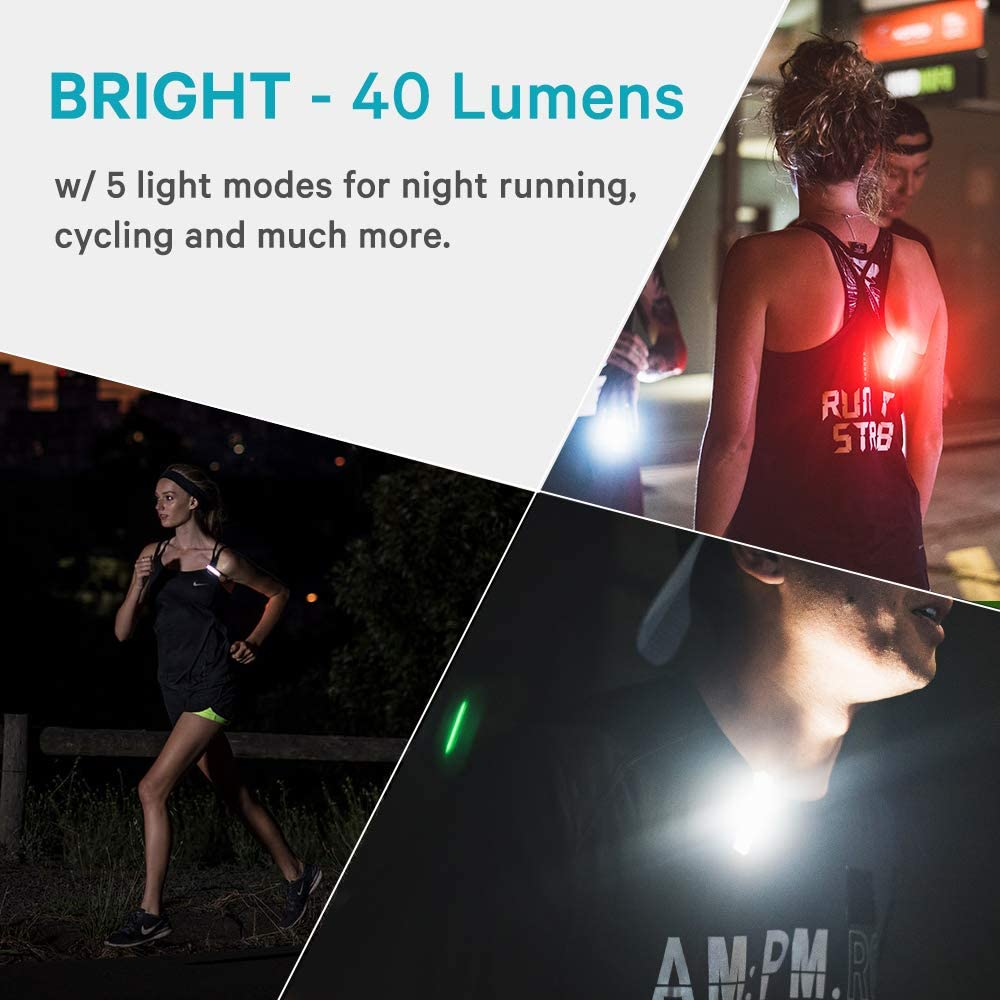 Cycling USB Rechargeable Handsfree Lights for Night Running Knog Plus Free Light Road Safety 100/% Waterproof 40 Lumens Rear, Black 5 Light Modes Lightweight