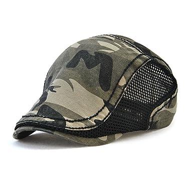 GADIEMKENSD Ivy Mesh Cap Camouflage Newsboy Cap Men Flat Cap Bill Hats  Summer for Men Coffee 4feefcf42644