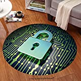 Sophiehome Soft Carpet 122193535 Security concept circuit board with closed padlock icon, 3d render Anti-skid Carpet Round 72 inches