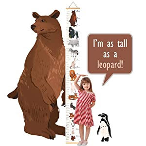 Decu Educational Height Chart Animal-Comparison Hanging Growth Chart for Kids' Bedroom Decor