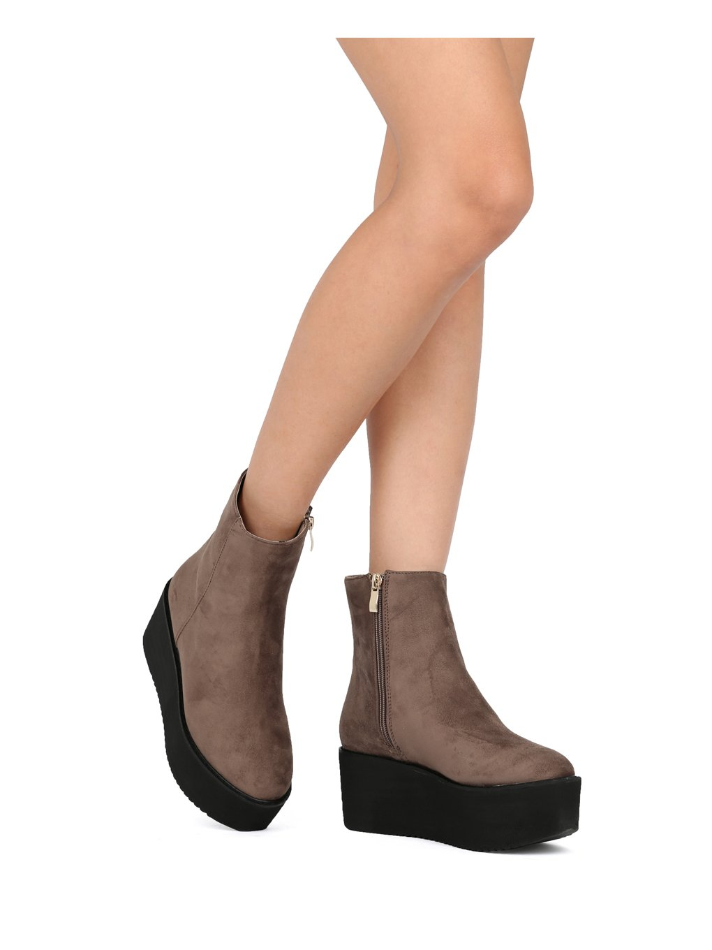 Indulge Hebe-I Women Round Toe Platform Creeper Ankle Bootie HE66 - Taupe Faux Suede (Size: 7.0) by Indulge (Image #6)