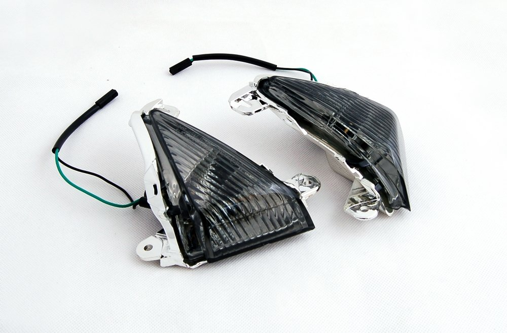 Areyourshop Front Turn Signals For Lens ZX 14R 10R 6R 636 Ninja 650F Smoke