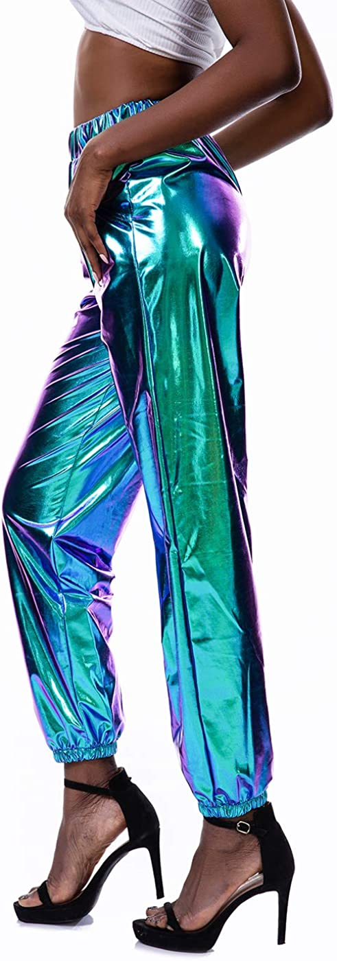 Details about  /Lucky Girl Metallic Womens Metallic Shiny Snug Fit Colorful Polyester Leggings