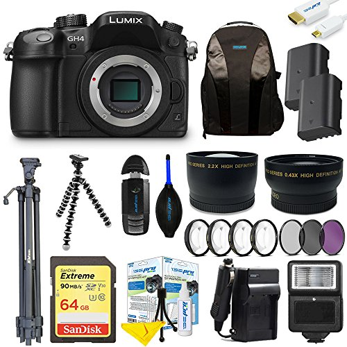 Panasonic Lumix DMC-GH4 Mirrorless Micro Four Thirds Digital Camera (Body) + Pixi-Advanced Accessories Bundle (Gh4 Bundle Lumix)