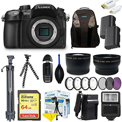 Panasonic Lumix DMC-GH4 Mirrorless Micro Four Thirds Digital Camera (Body) + Pixi-Advanced Accessories Bundle (Lumix Gh4 Bundle)