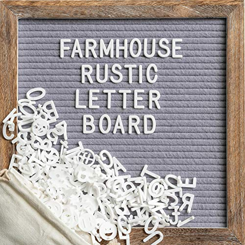 Felt Letter Board with 10x10 Inch Rustic Wood Frame, Message Board with Script Words, Precut Letters, Picture Hangers, Farmhouse Wall Decor, Shabby Chic Vintage Decor, Grey (Gray)