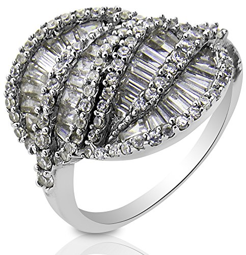 High Polish Silver Sterling Tapered (Women's Sterling Silver .925 Fancy Ring with Tapered Baguettes and Round shape Cubic Zirconia (CZ) stones, High Polish, Appears indentical to platinum or gold)