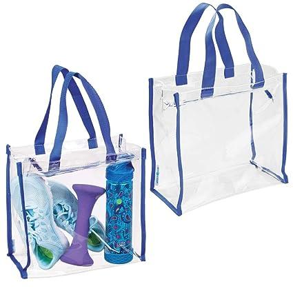 mDesign Juego de 2 bolsos de deporte para equipo de entrenamiento, ropa o accesorios – Bolsa impermeable de plástico para gimnasio – Moderna bolsa ...