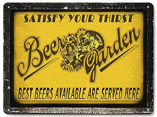 BEER garden metal sign Mancave gift pub tavern bar / vintage antique (Antique Bar Pin)