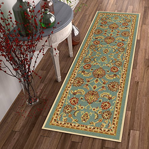 Well Woven Non-Skid/Slip Rubber Back Antibacterial 2x7 (2' x 7' Runner) Rug Timeless Oriental Blue Traditional Classic Sarouk Thin Low Pile Machine Washable Indoor Outdoor Kitchen Hallway Entry