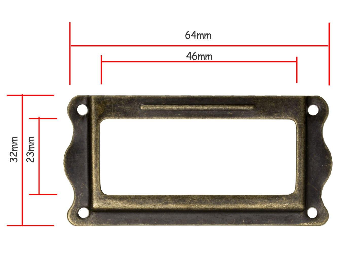 tiroirs /à cartes Fuxxer Lot de 10 fen/êtres pour /étiquettes design antique en laiton vieilli pour placards pharmaceutiques 64 x 32 mm cuisines