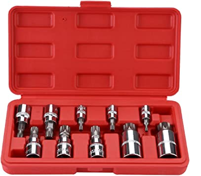 OCGIG 10 Pcs XZN Triple Square Spline Bit Socket Set Kit 3//8 1//4 1//2 Drive 4mm-18mm With Storage Case,S2 Steel Blue Case